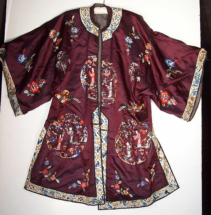 Chinese Figural Embroidered Aubergine Silk Robe Coat front view