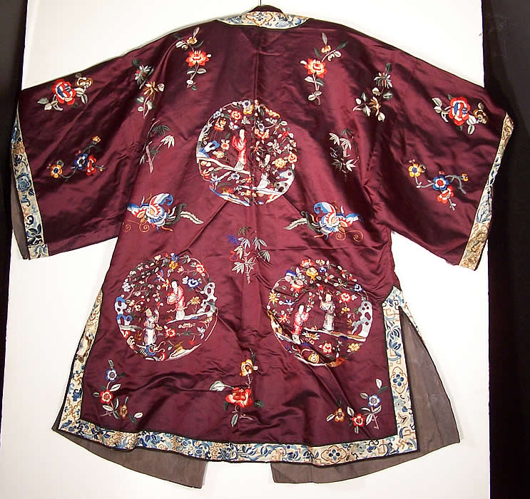 Chinese Figural Embroidered Aubergine Silk Robe Coat back view