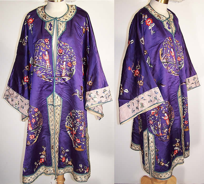 Vintage Chinese Figural Floral Butterfly Embroidered Purple Silk Robe Coat  Front view.