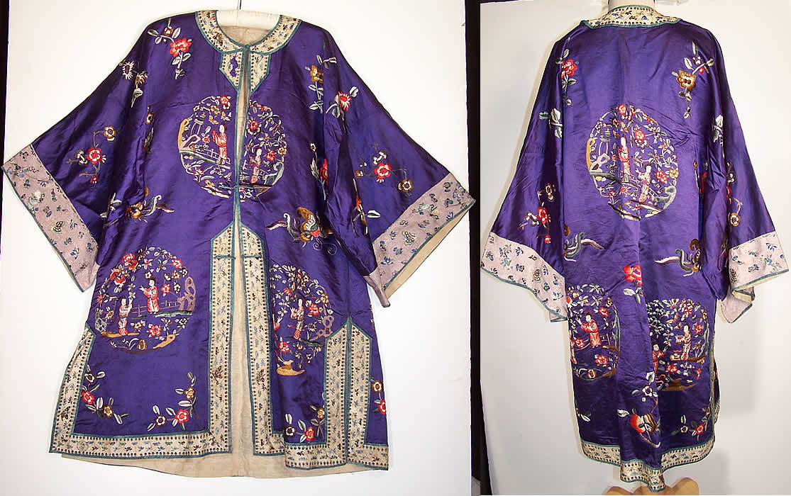 Vintage Chinese Figural Floral Butterfly Embroidered Purple Silk Robe Coat front back view.