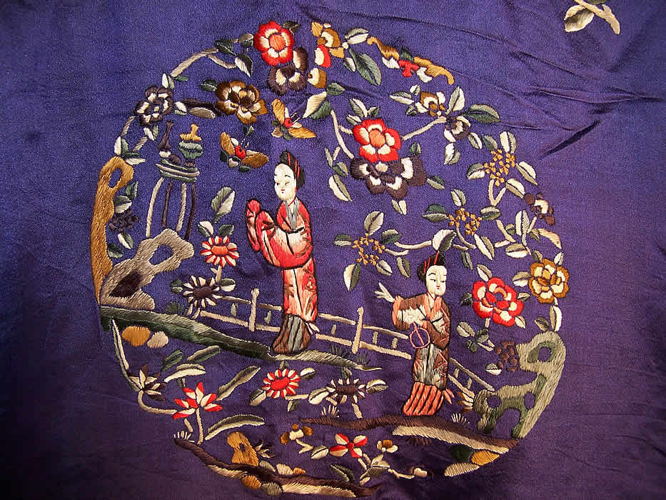 Vintage Chinese Figural Floral Butterfly Embroidered Purple Silk Robe Coat Close up.