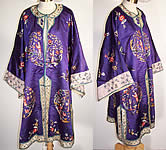 Vintage Chinese Figural Floral Butterfly Embroidered Purple Silk Robe Coat