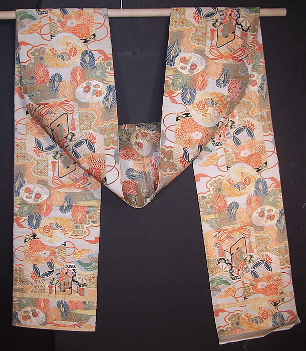 Vintage Japanese Geisha Orange Silk Gold Brocade Gift Cart Wheel Kimono Obi Sash Back View.