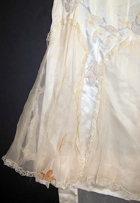 Vintage Cream Silk Beaded Rosette Wedding Dress Watteau Train Gown side view.