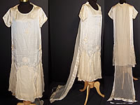 Vintage Cream Silk Beaded Rosette Wedding Dress Watteau Train Gown
