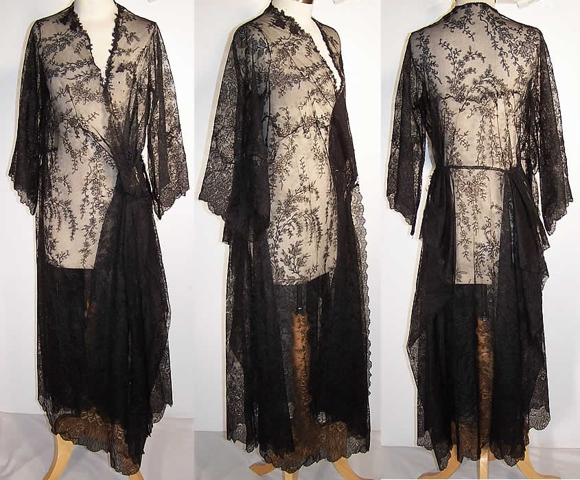 Victorian Antique Black Chantilly Lace Pagoda Sleeve Robe Dressing Gown