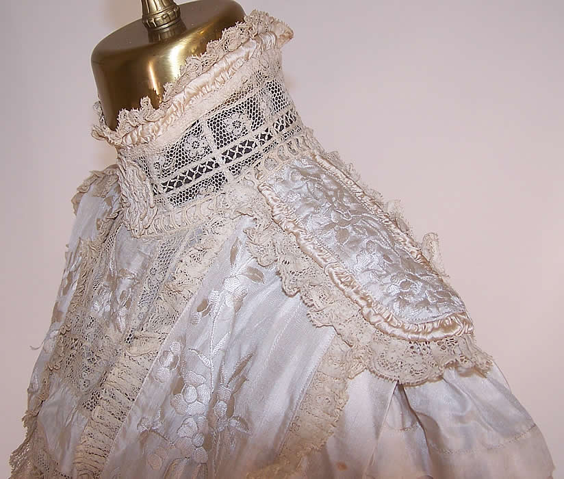 Edwardian Canton Shawl White Silk Embroidered Lace Wedding Bodice Blouse side view close up