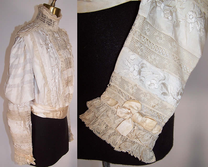 Edwardian Canton Shawl White Silk Embroidered Lace Wedding Bodice Blouse side view / sleeve close up
