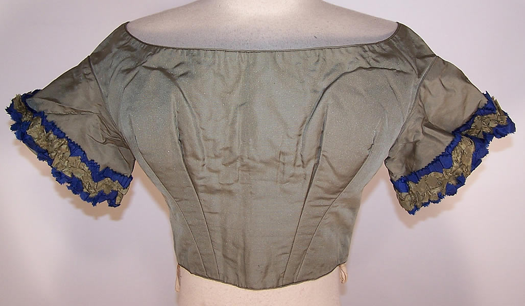 Victorian Green & Blue Silk Bust Enhancer Padded Ball Gown Bodice Top Front view.