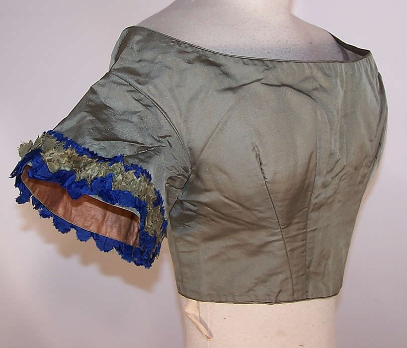 Victorian Green & Blue Silk Bust Enhancer Padded Ball Gown Bodice Top side view.
