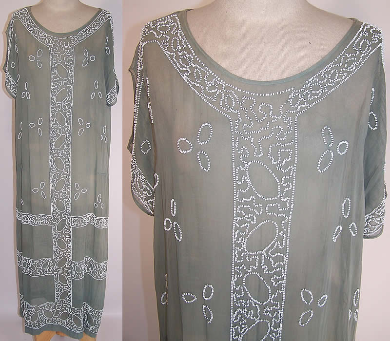 Vintage Teal Blue Gray Cotton Muslin White Beaded Drop Waist Shift Dress