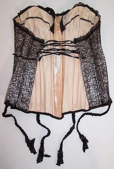 Vintage Black Chantilly Lace Merry Widow Corselet Corset Bustier Bra Girdle Garters shows the lining