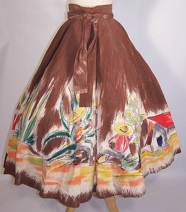 Vintage Arroyo Artist Signed Hand Painted Brown Mexican Mariachi Circle Skirt