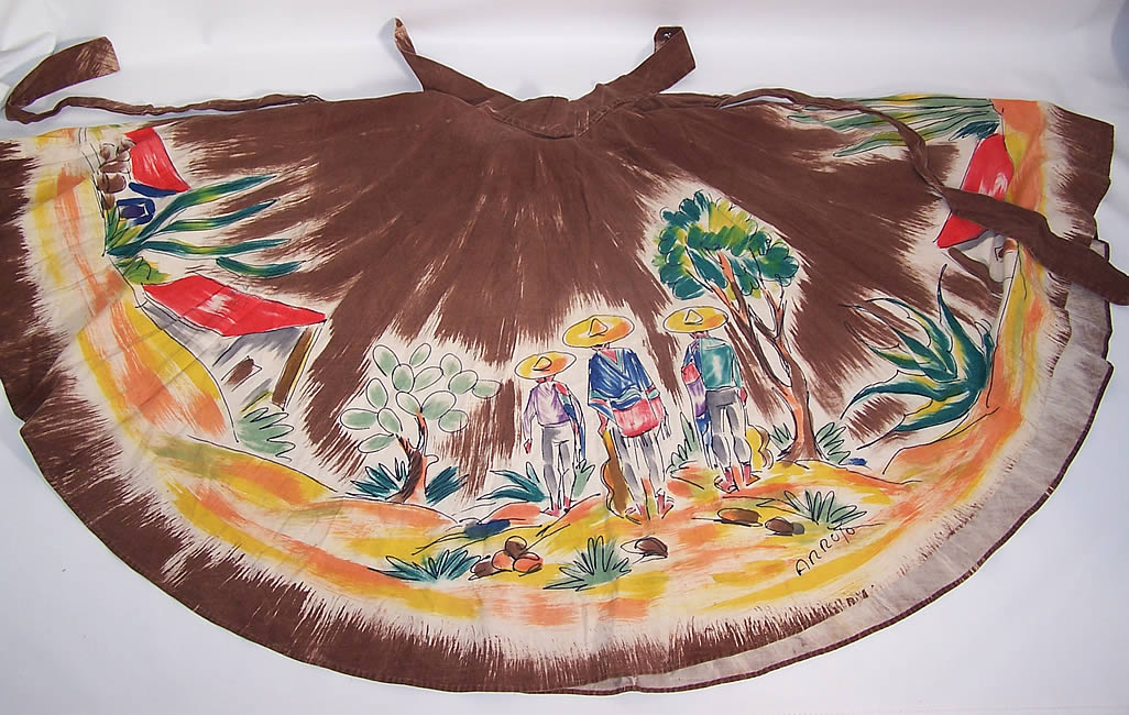 Vintage Arroyo Artist Signed Hand Painted Brown Mexican Mariachi Circle Skirt the one side