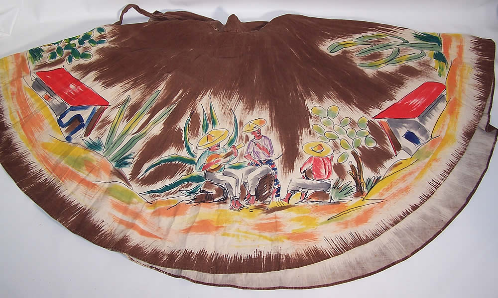 Vintage Arroyo Artist Signed Hand Painted Brown Mexican Mariachi Circle Skirt other side