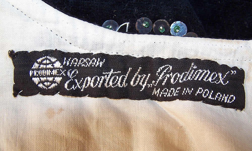 "Vintage Black Velvet Gold Sequin Beaded Warsaw Polish Folk Vest Bodice Top with a ""Warsaw Exported by Prodimex Made in Poland"" label sewn inside."