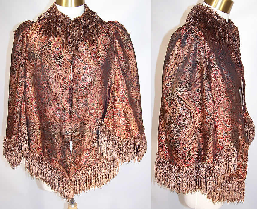 Victorian Iridescent Silk Paisley Chenille Fringe Dolman Mantle Cape