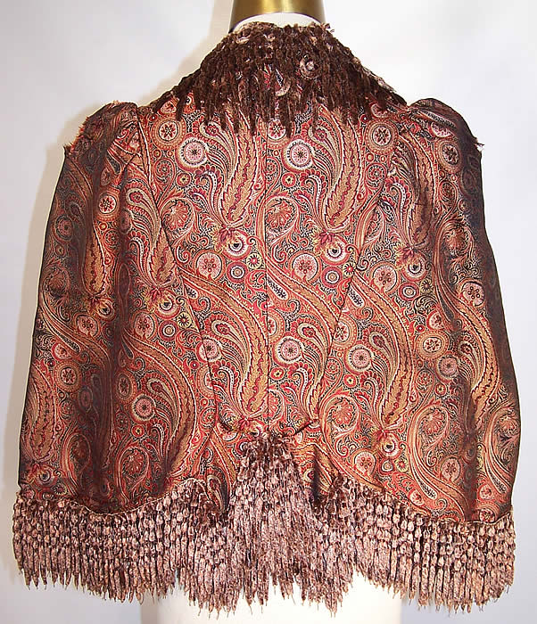 Victorian Iridescent Silk Paisley Chenille Fringe Dolman Mantle Cape back view.