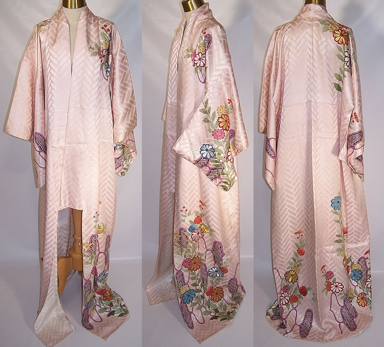 Japanese Geisha Pink Silk Screen Floral Silver & Gold Embroidered Kimono