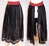 Vintage Czech Bohemia Folk Costume Black Pleated Brocade Ribbon Apron Skirt