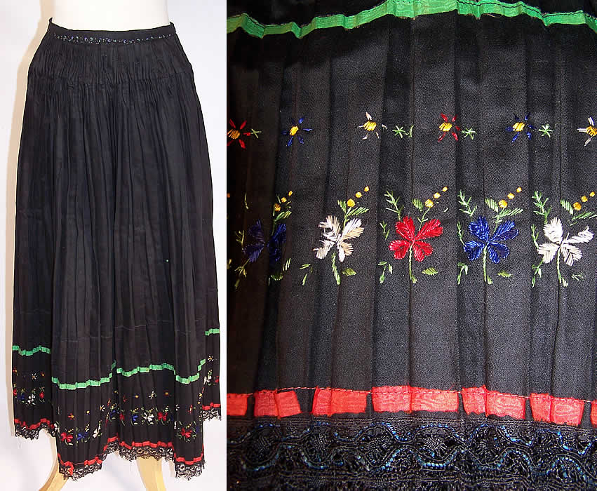 Vintage Czech Bohemia Folk Costume Pleated Embroidered Apron Skirt