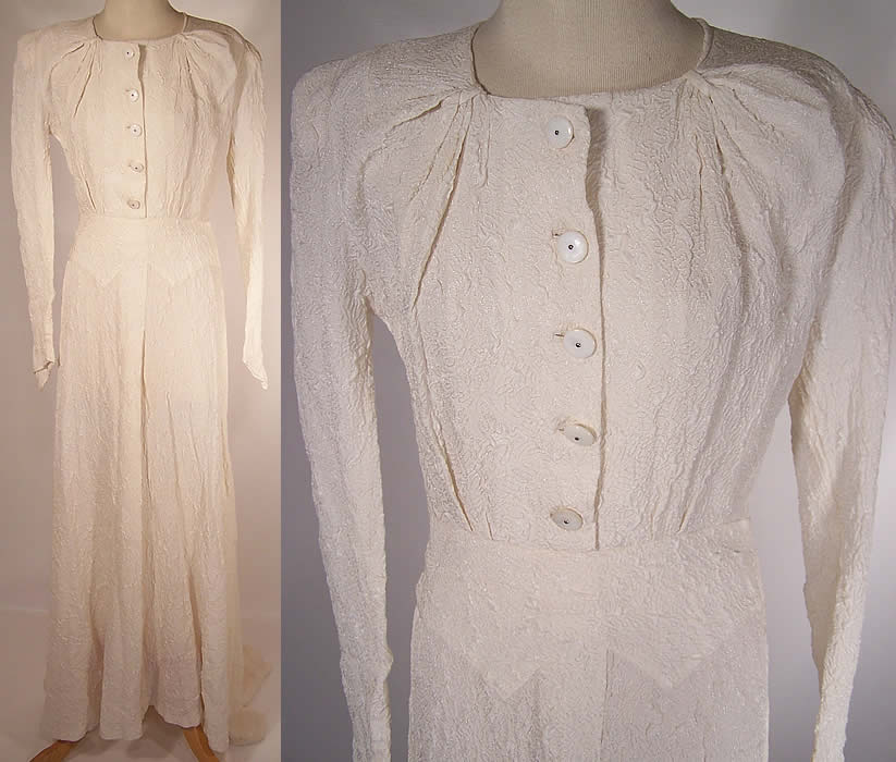 Vintage Modele Shandel London White Silk Wedding Gown Train Dress