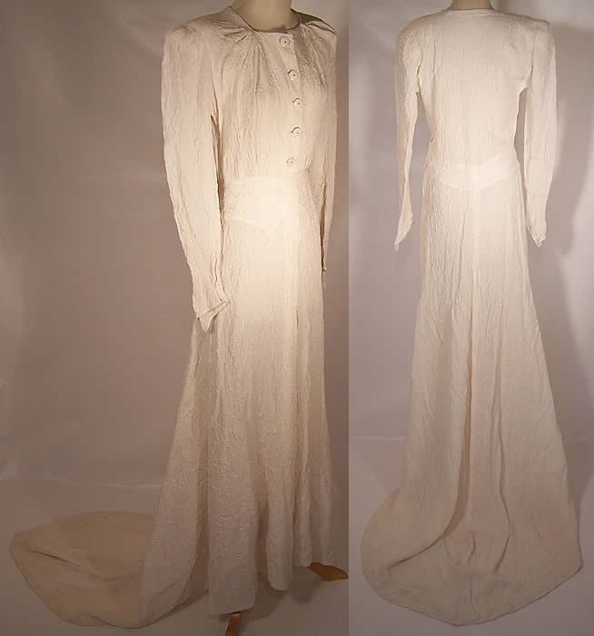 Vintage Modele Shandel London White Silk Wedding Gown Train Dress side & backviews