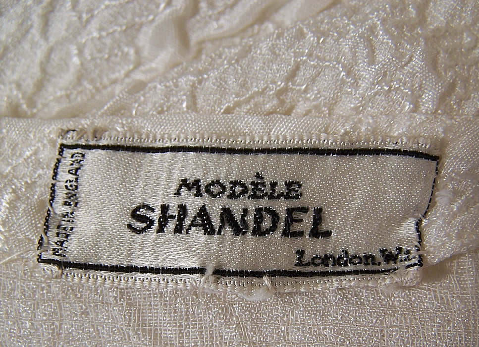 Vintage Modele Shandel London White Silk Wedding Gown Train Dress label close up.
