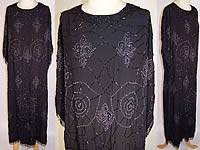 Vintage Art Deco Black Silk Spider Cob Web Fleur De Lis Beaded Flapper Dress