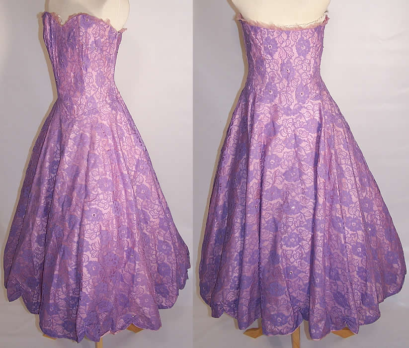 Vintage Purple Lace Rhinestone Strapless Formal Gown Circle Skirt Dress side  and back views