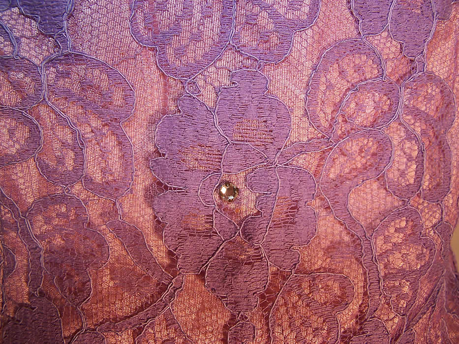 Vintage Purple Lace Rhinestone Strapless Formal Gown Circle Skirt Dress close up