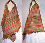 Victorian Antique Jacquard Hand Loom Wool Paisley Striped Shawl 70x70