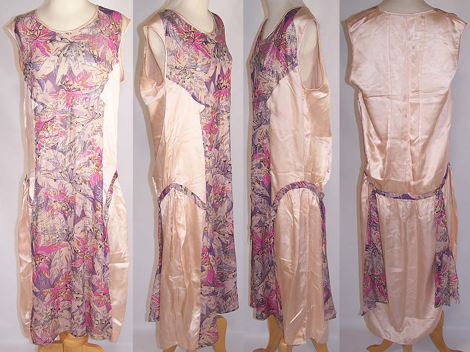 Art Deco Purple Floral Lamé Silver Metallic Pink Silk Drop Waist Dress