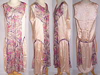 1920s Art Deco Purple Floral Lamé Silver Metallic Pink Silk Drop Waist Dress