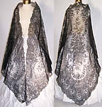 Victorian Civil War Antique Black Chantilly Lace Large Mantilla Shawl As-is