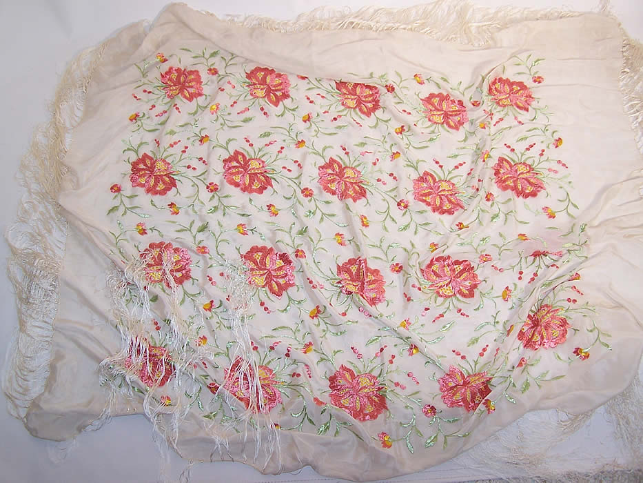 Vintage White & Pink Silk Floral Embroidered Fringe Piano Shawl