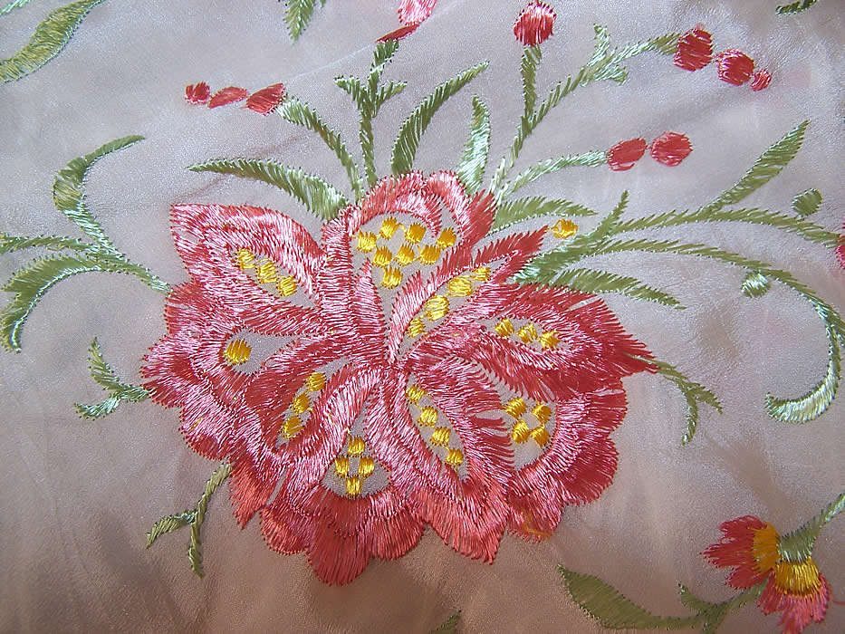 Vintage White & Pink Silk Floral Embroidered Fringe Piano Shawl close up