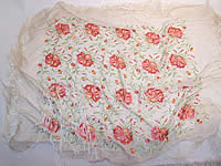 Vintage 1920s White & Pink Silk Floral Embroidered Fringe Piano Shawl