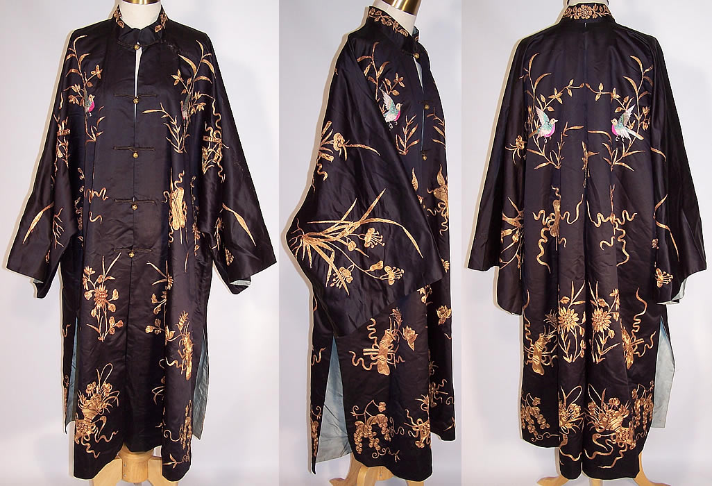Antique Chinese Precious Objects Gold Couching Embroidered Robe Coat