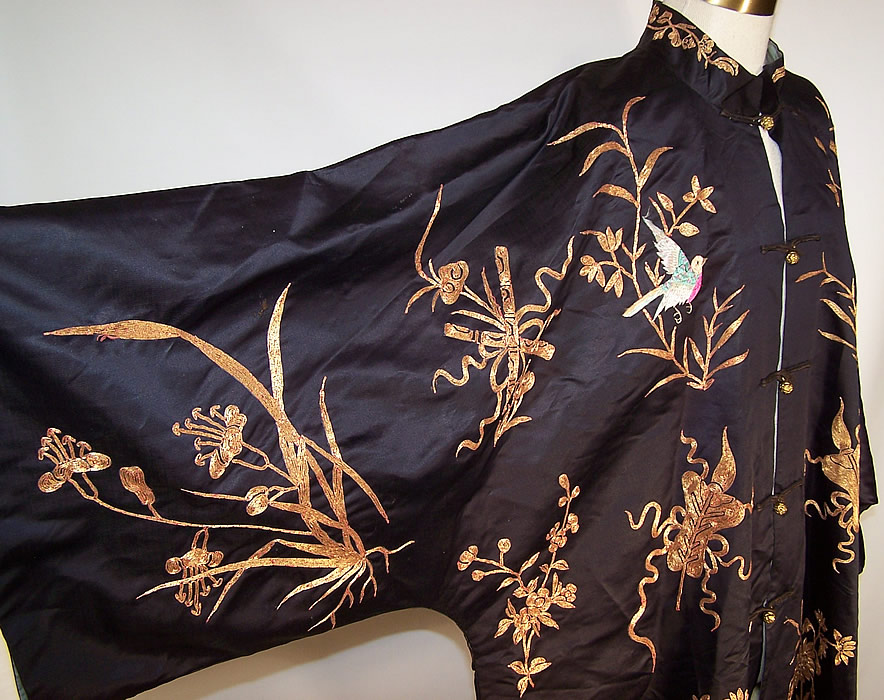 Antique Chinese Precious Objects Gold Couching Embroidered Robe Coat sleeve