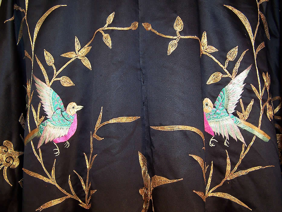 Antique Chinese Precious Objects Gold Couching Embroidered Robe Coat close up