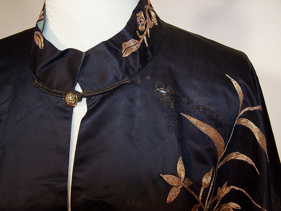 Antique Chinese Precious Objects Gold Couching Embroidered Robe Coat close up.