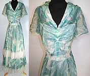 Vintage Taylor Importing Original Green Lily Pad Silk Chiffon White Lace Dress