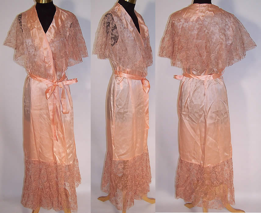 5809be63e Vintage Peach Silk Tambour Lace Shawl Collar Negligee Peignoir Robe