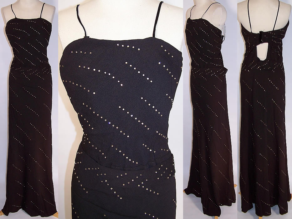Vintage Black Crepe Rhinestone Sexy Bombshell Evening Gown