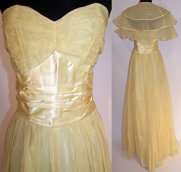 Vintage Fred Perlberg Yellow Chiffon Strapless Formal Gown Dance Dress & Cape