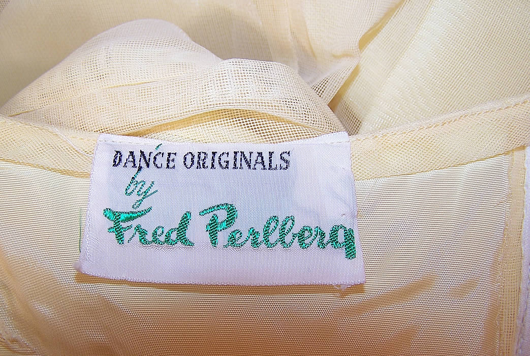 Vintage Fred Perlberg Yellow Chiffon Strapless Formal Gown Dance Dress & Cape label close up
