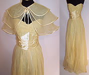 Vintage 1940s Fred Perlberg Yellow Chiffon Strapless Formal Gown Dance Dress & Cape