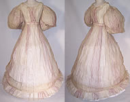 Antique Georgian Regency 1830s Muslin Purple Stripe Gigot Sleeve Gown Dress