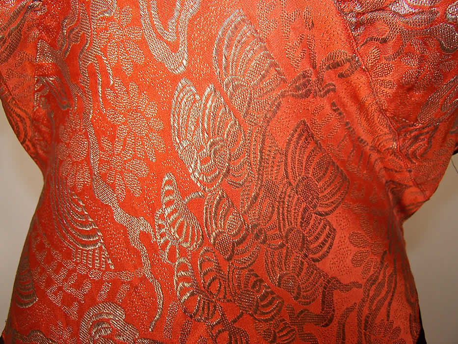 Art Deco Orange Lamé Gold Metallic Black Silk Bias Cut Belted Dress close up